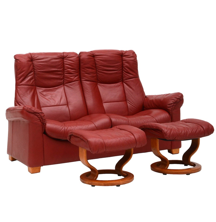 danish modern style red leather reclining loveseat with two  - danish modern style red leather reclining loveseat with two ottomans