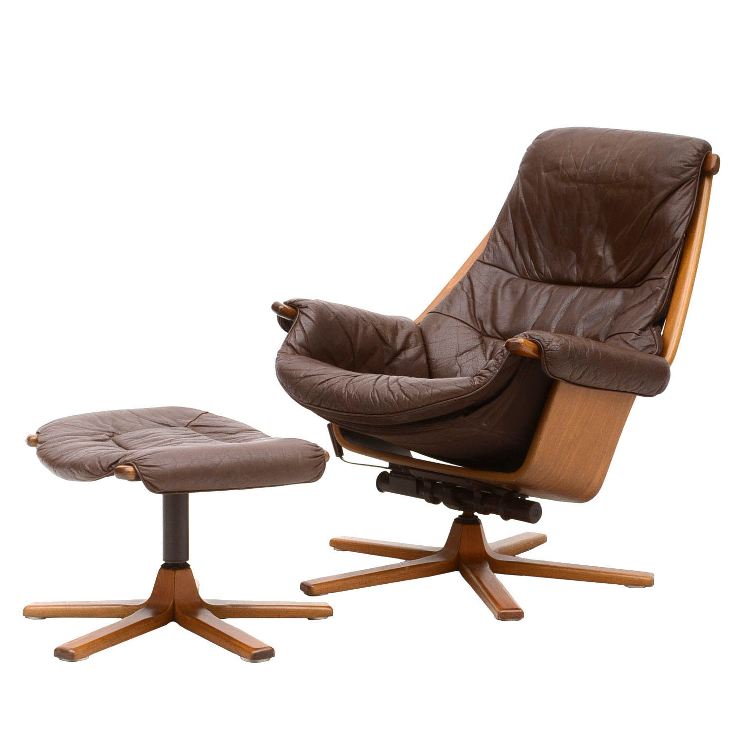 Swedish Leather Recliner and Ottoman by Mobel
