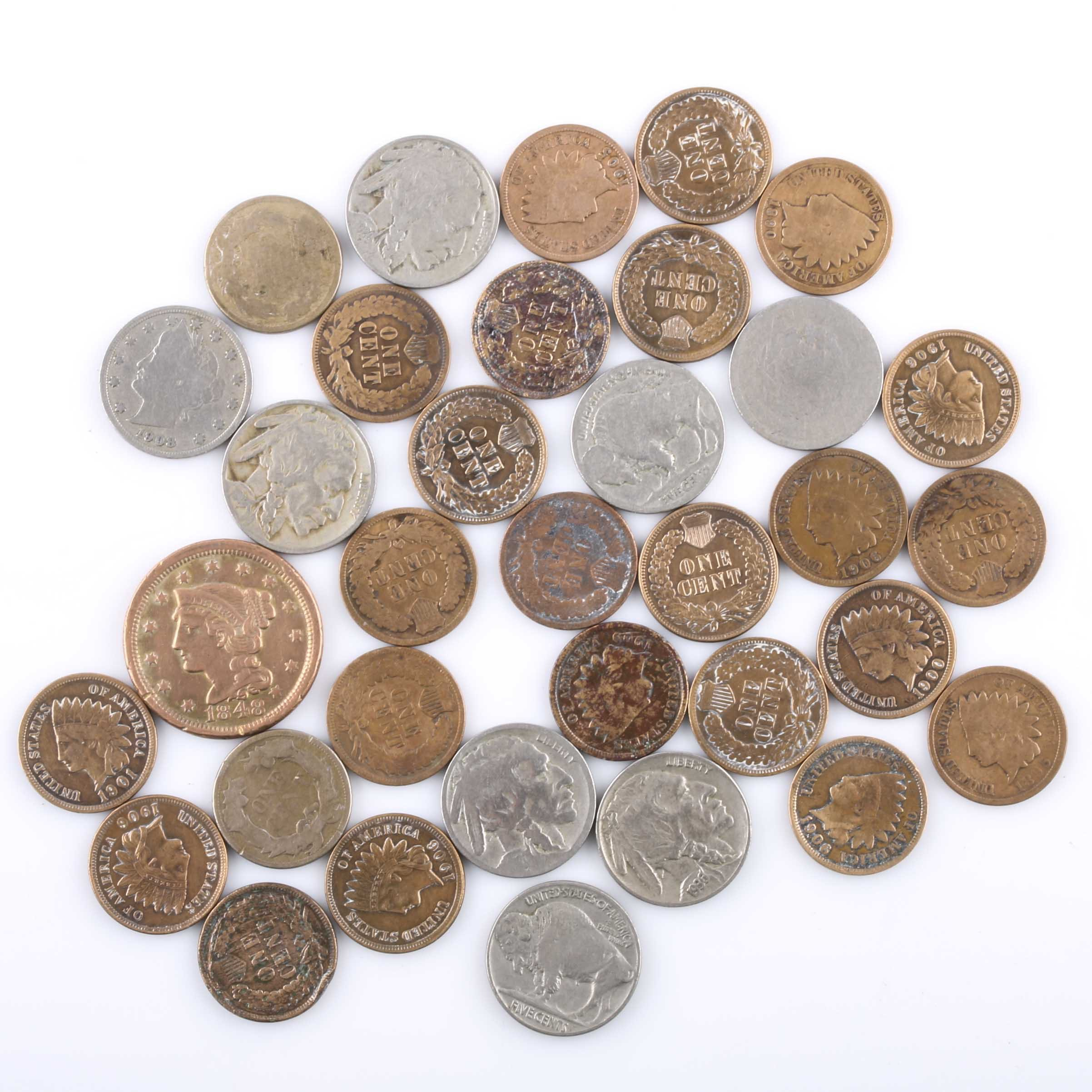 United States One Cent Coins and Nickels