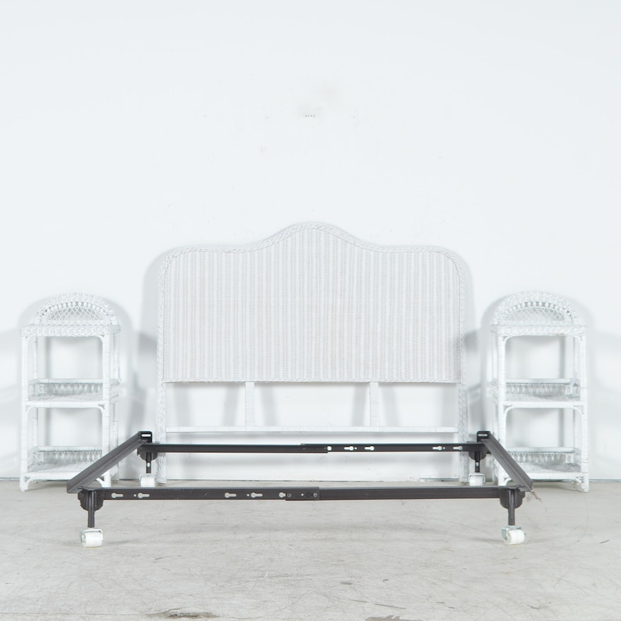 White Painted Wicker Headboard and Two Nightstands