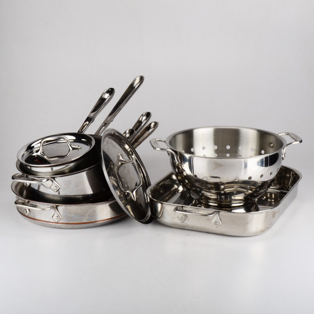 Set of All-Clad Stainless and Copper Core Cookware