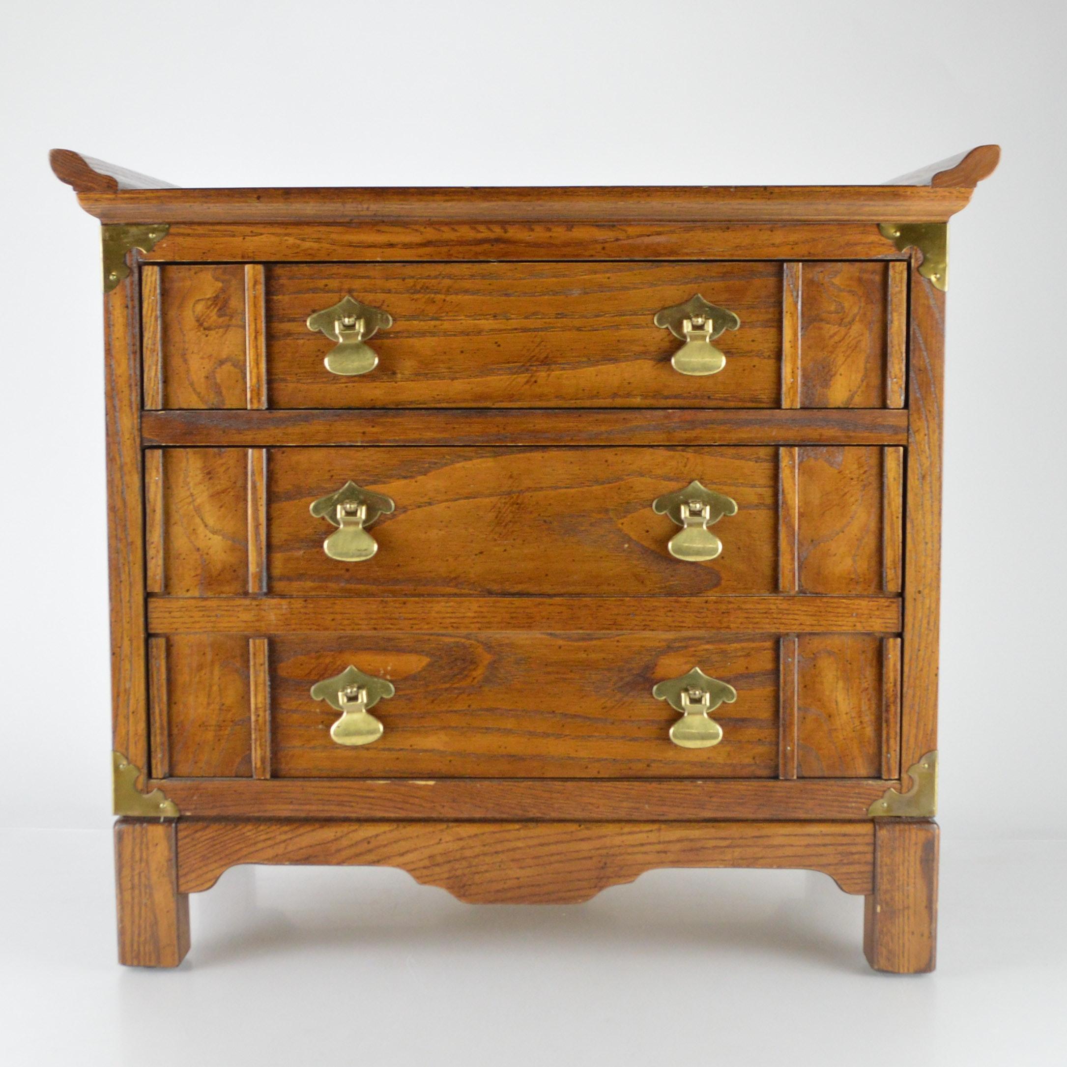 Lane Asian Inspired Oak Tabletop Chest of Drawers