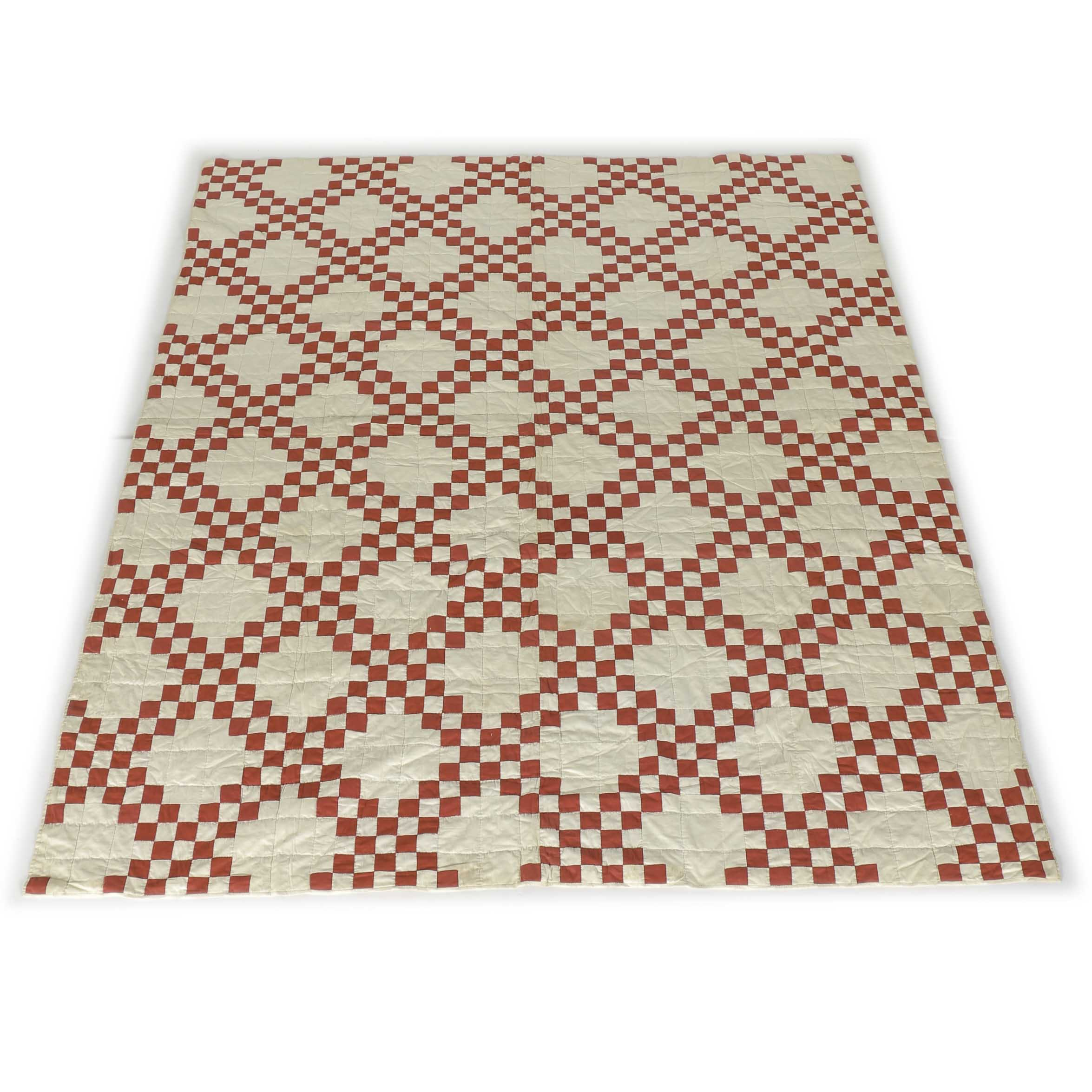 Vintage Red and White Double Irish Chain Quilt