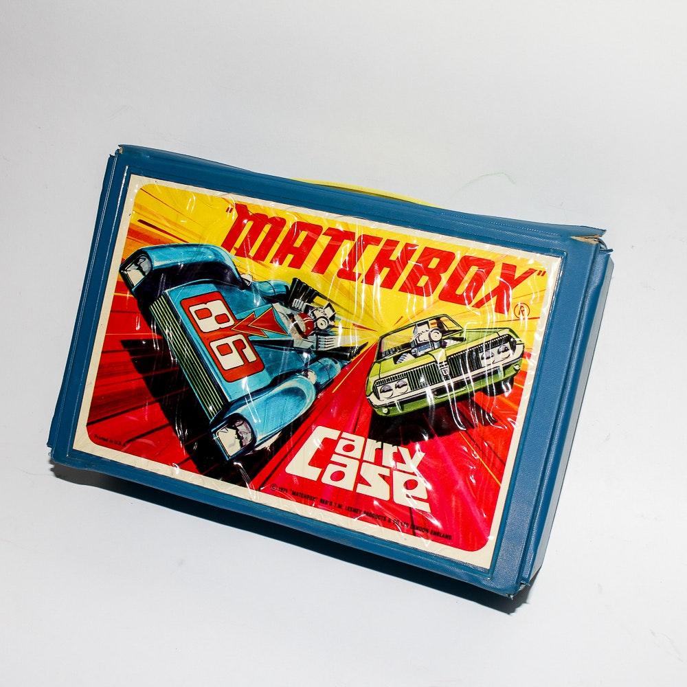 Vintage Matchbox Car Case With Die-Cast Cars