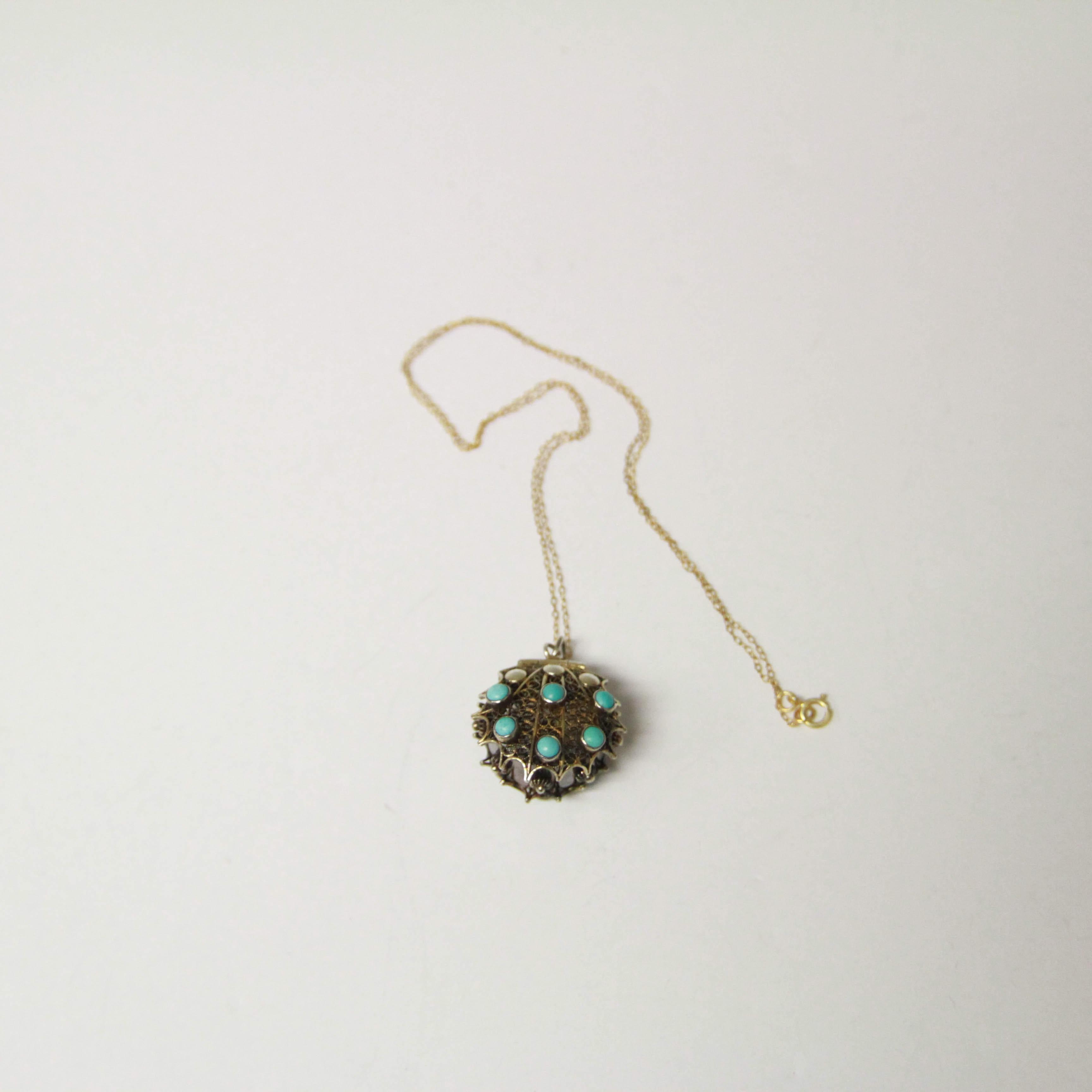 Vintage Vermeil Sterling Silver Turquoise Purse Locket Necklace