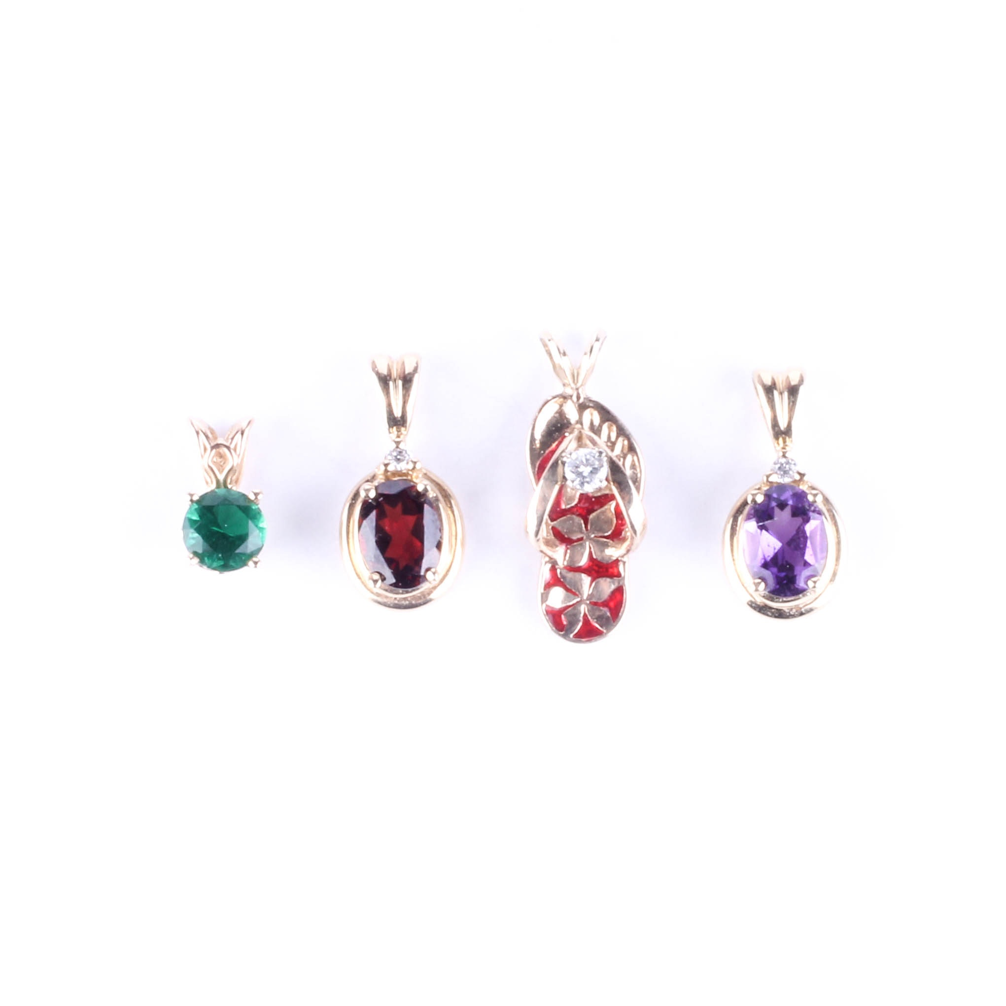 14K Gold and Gemstone Pendant Collection