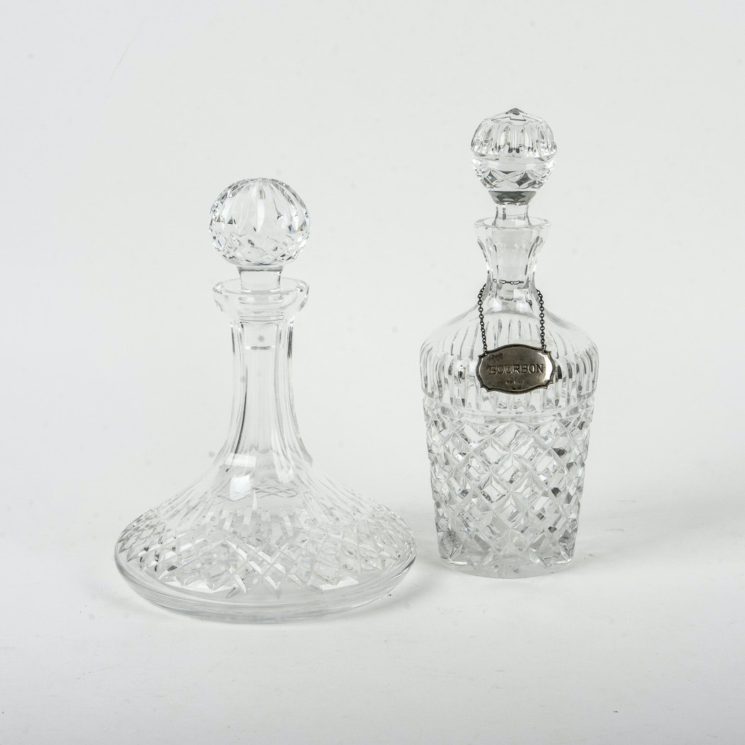 Crystal Decanters and a Sterling Silver Decanter Label