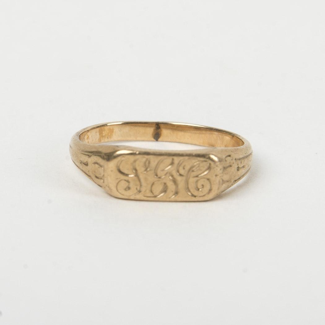 Monogrammed Gold Ring