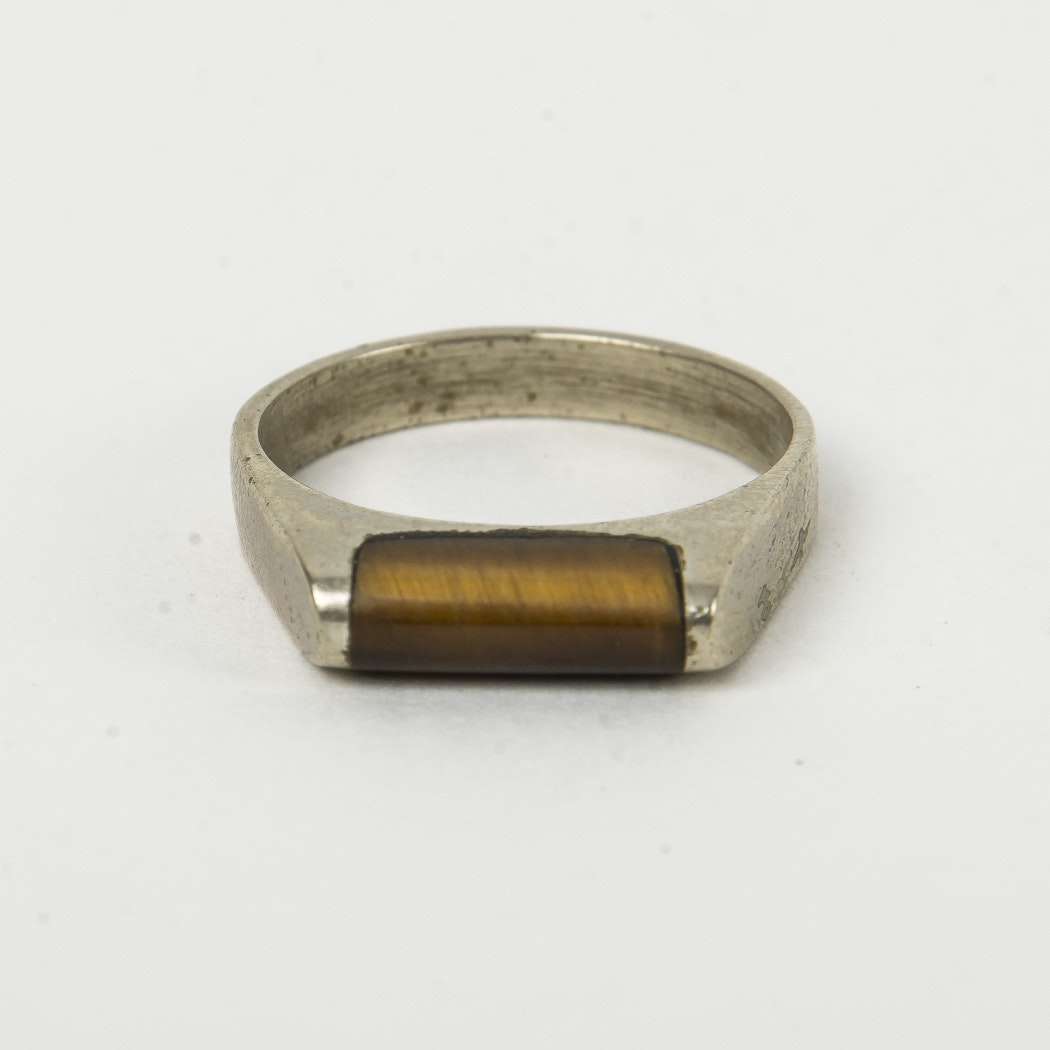 Men's Sterling Silver Ring with Tiger's Eye