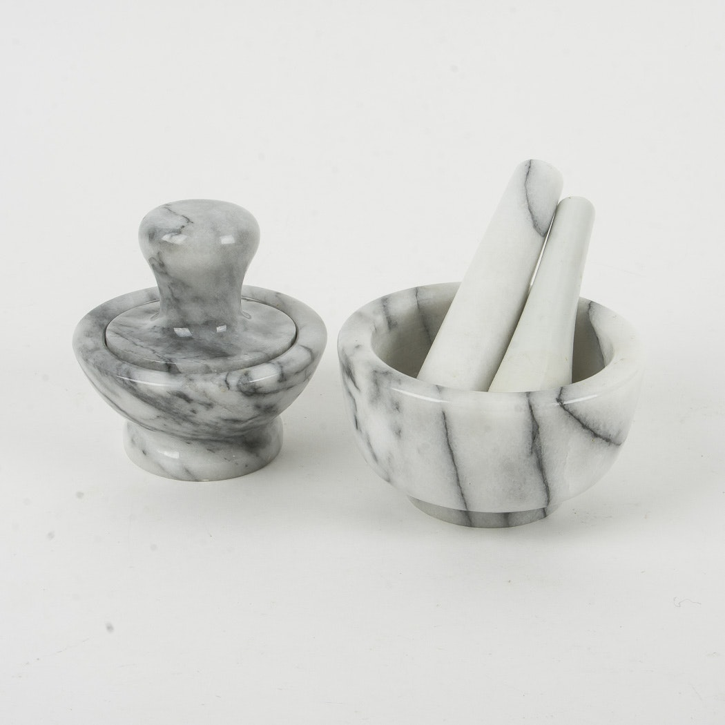 Marble Mortar and Pestle Set