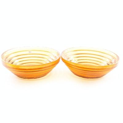 Blenko Amber Glass Handmade Bowls