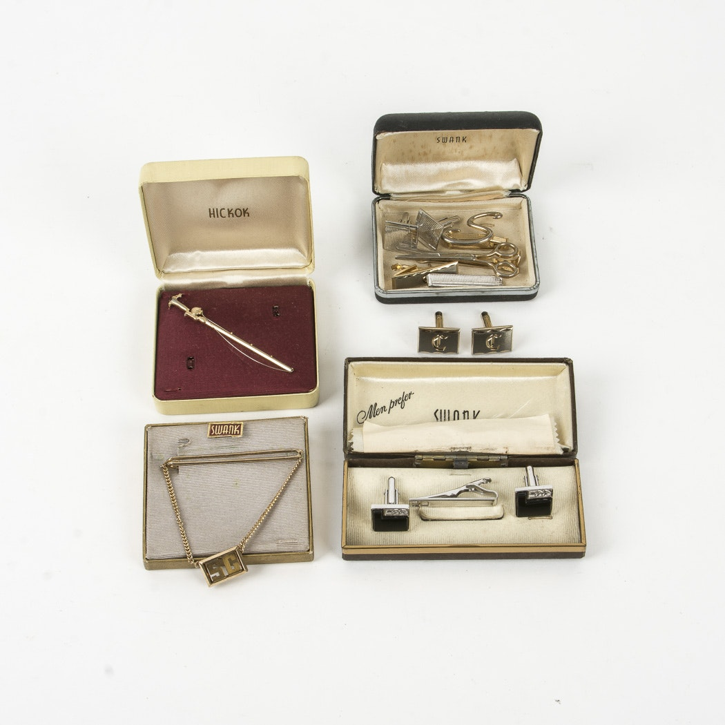 Assortment of Vintage Tie-Clips and Cuff links