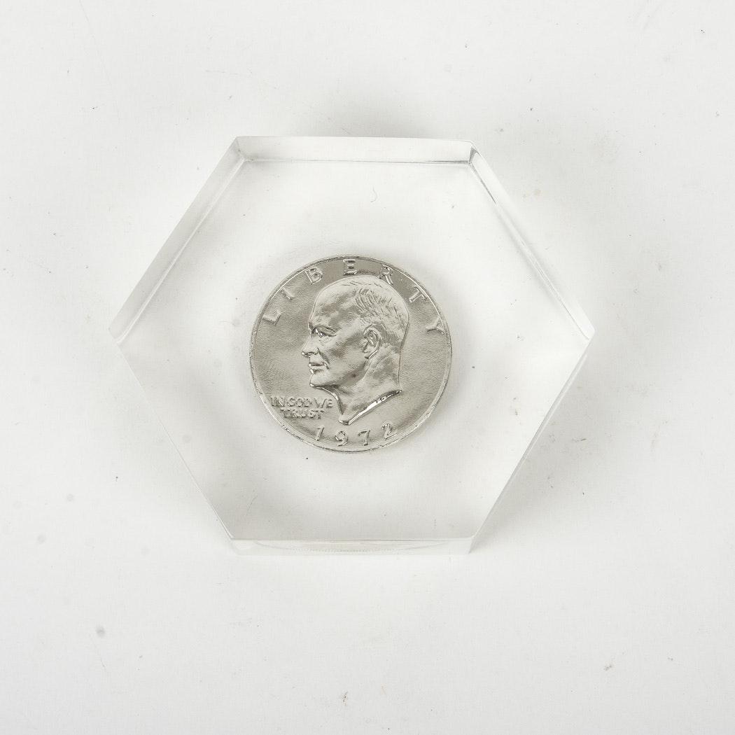 1972 Eisenhower Dollar Encased In Acrylic