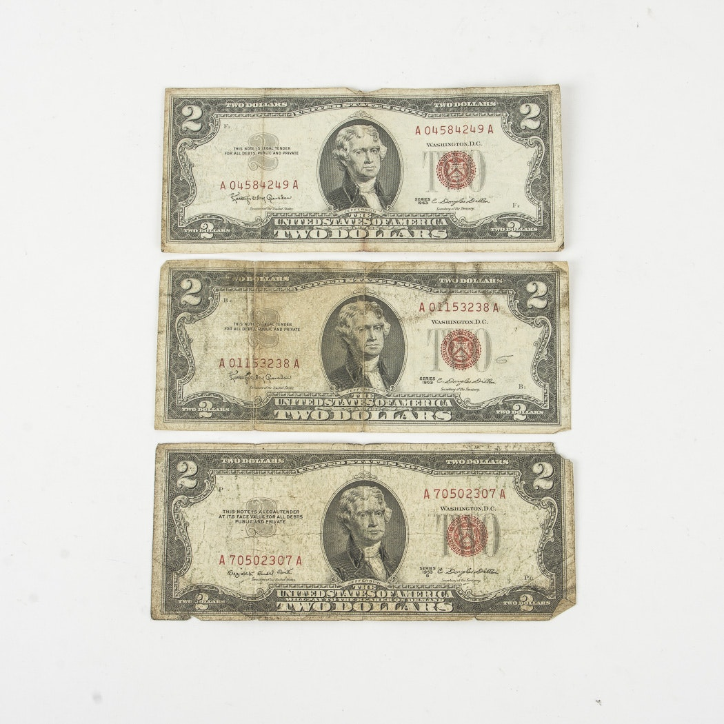 Three $2 Legal Tender Notes
