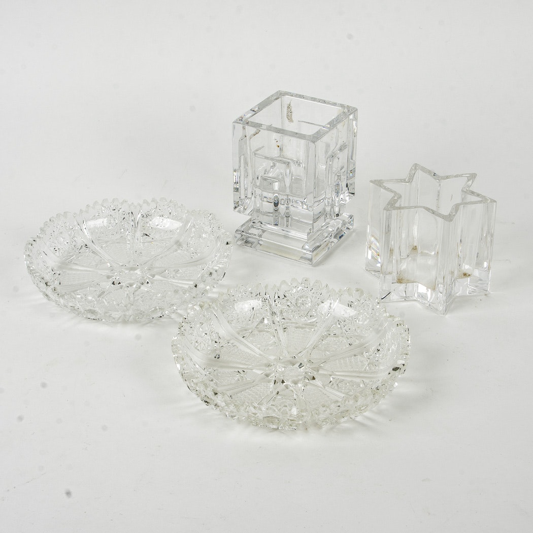 Crystal Candle Holders And Dishes Including Waterford