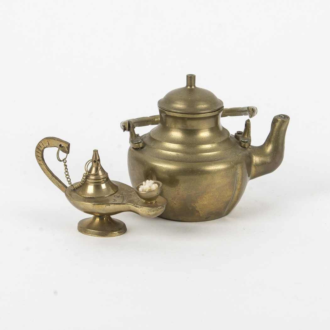 Brass Teapot and Oil Lamp