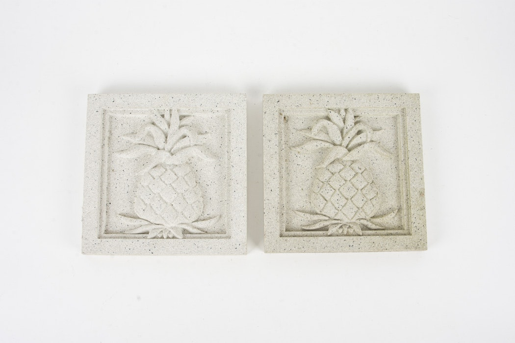 Pineapple Motif Cast Stone Medallions by Pineapple Grove Designs