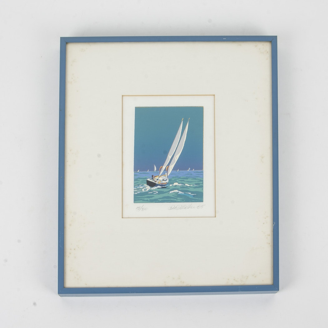 Framed Nautical Themed Serigraph