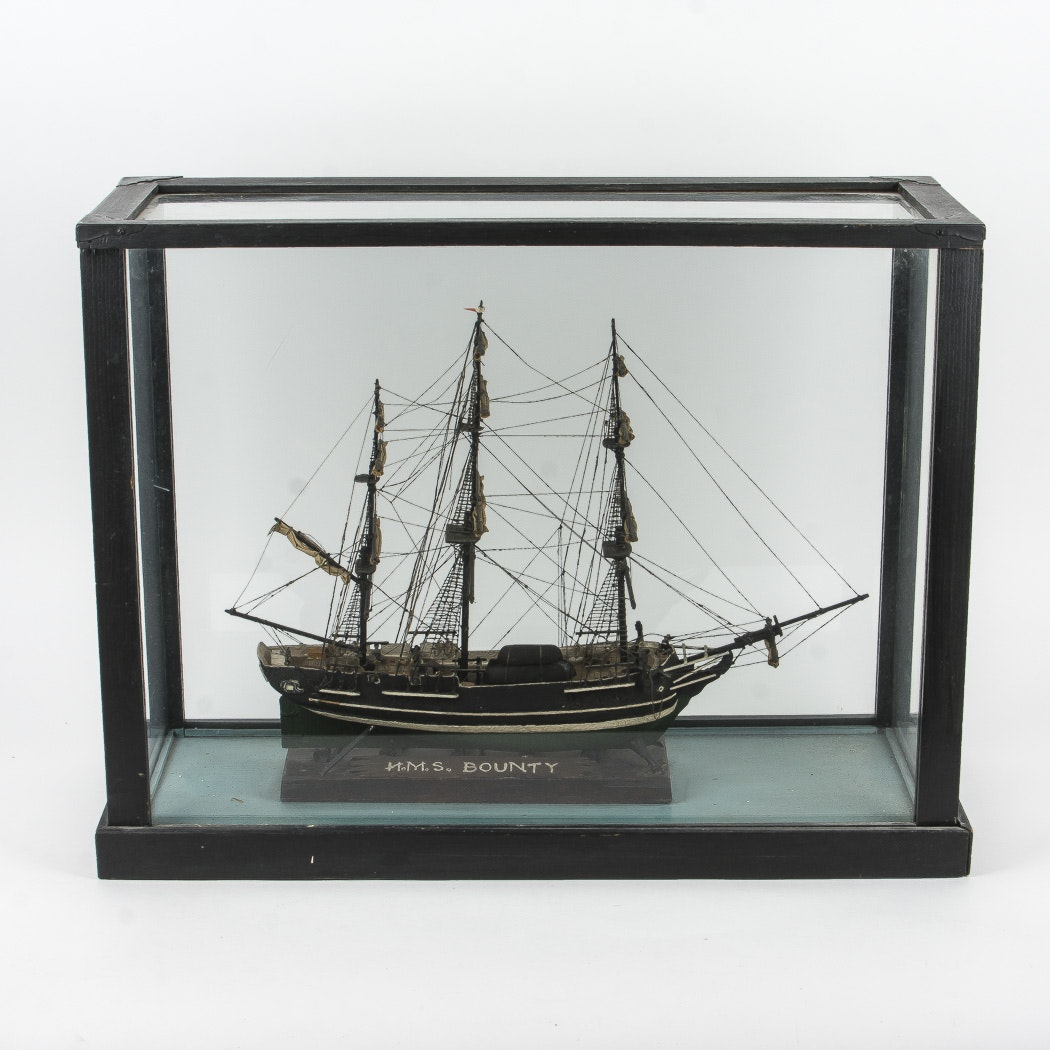 Wooden Model of  H.M.S. Bounty Ship and Display Case