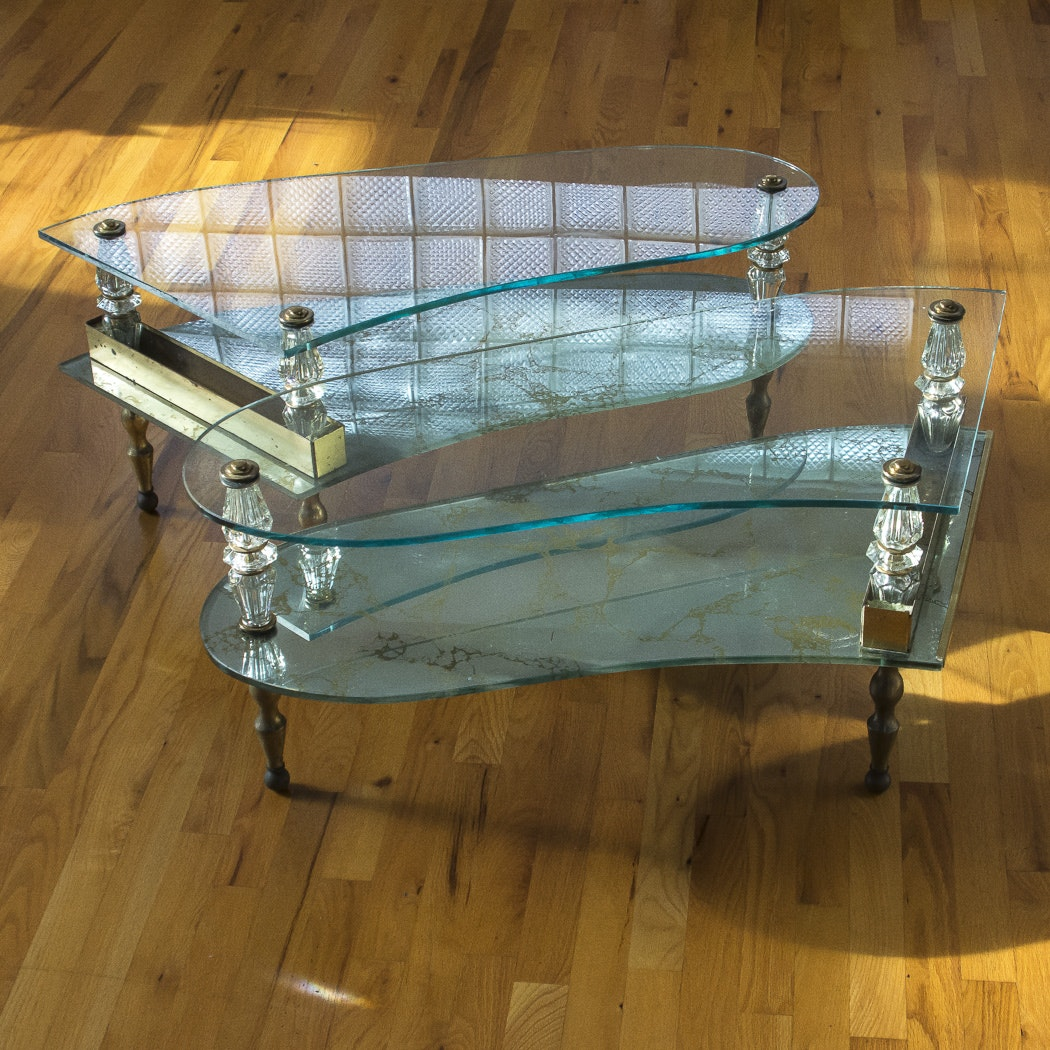 Pair of Piano Shaped Glass Coffee tables