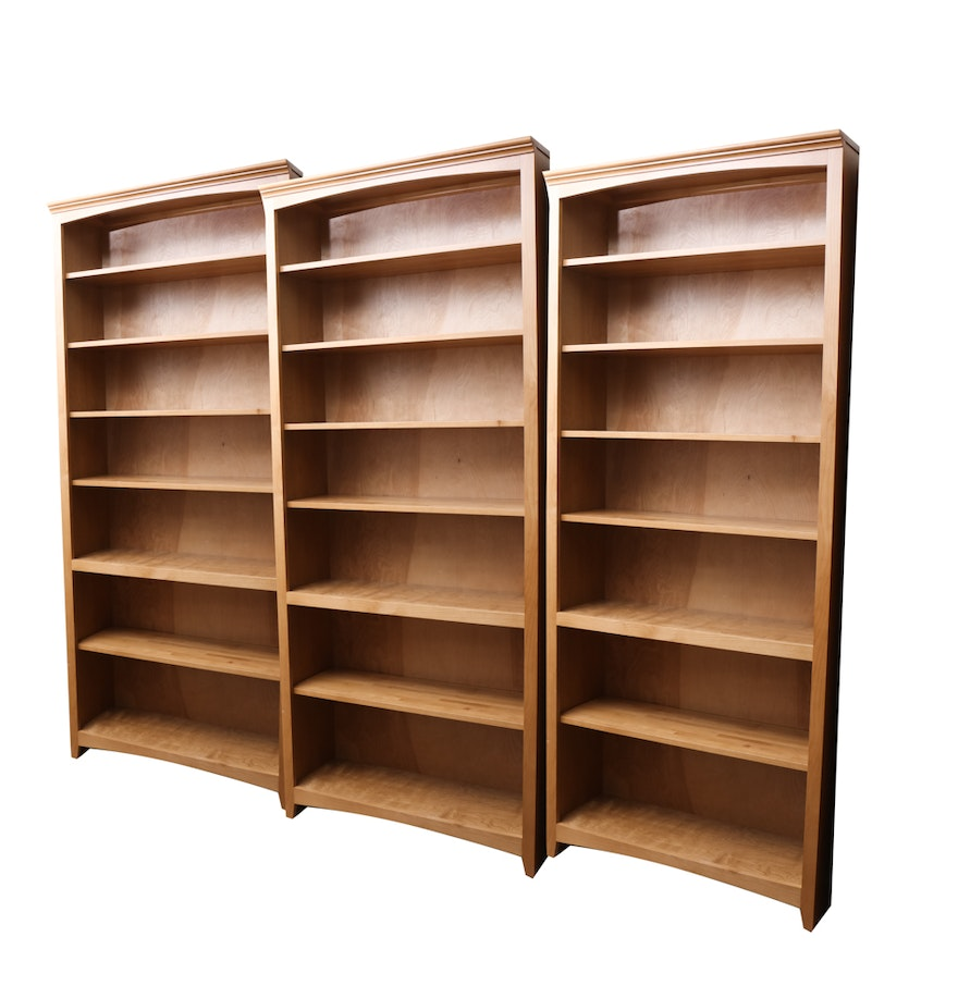 Whittier Wood Furniture Maple Finished Bookcases Ebth