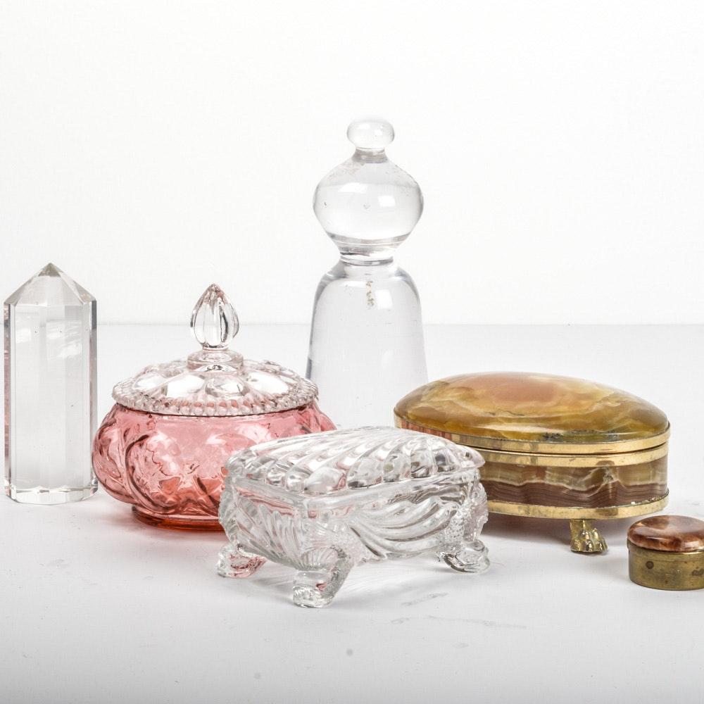 Art Glass Paperweights and Trinket Dishes