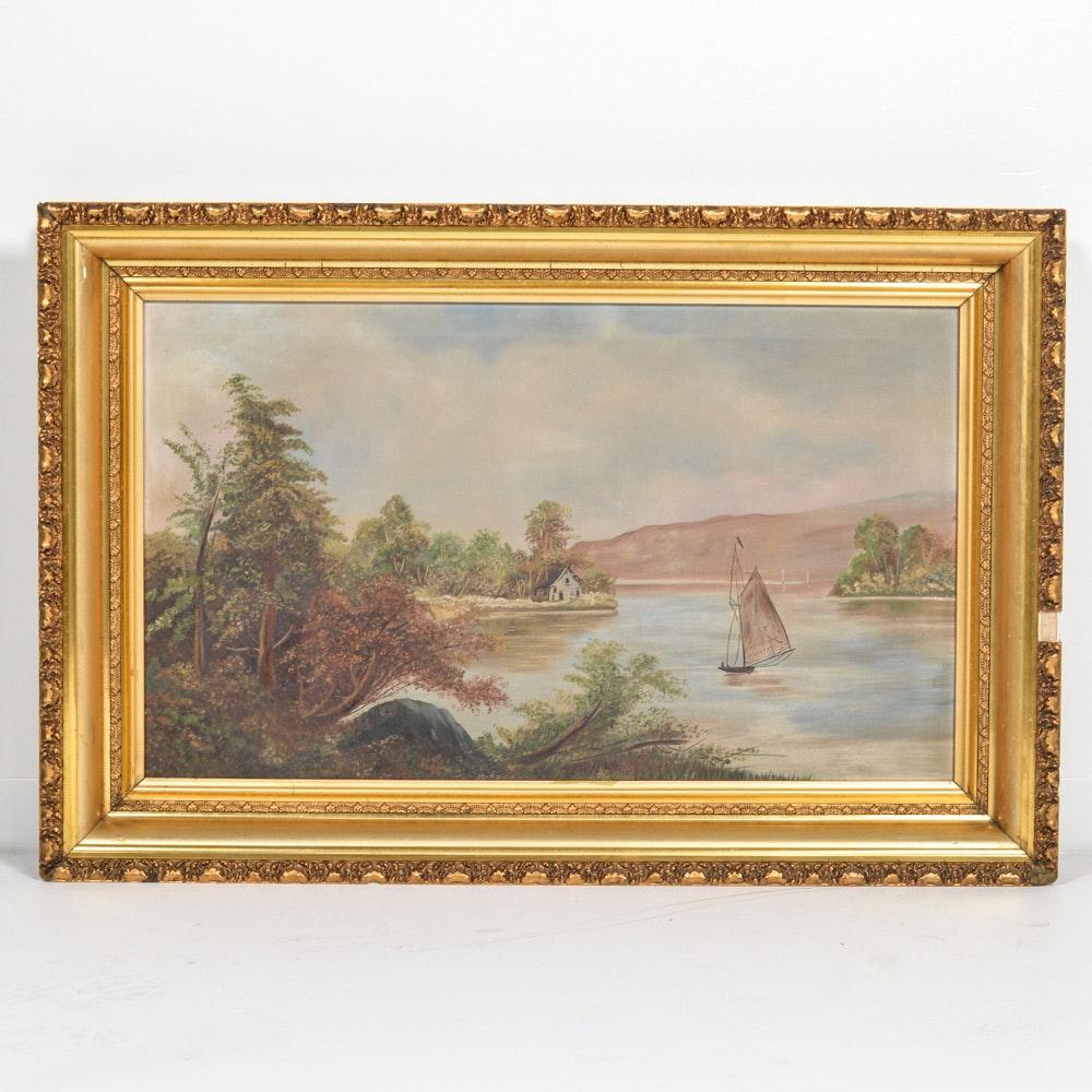 Framed Oil on Canvas Landscape Painting