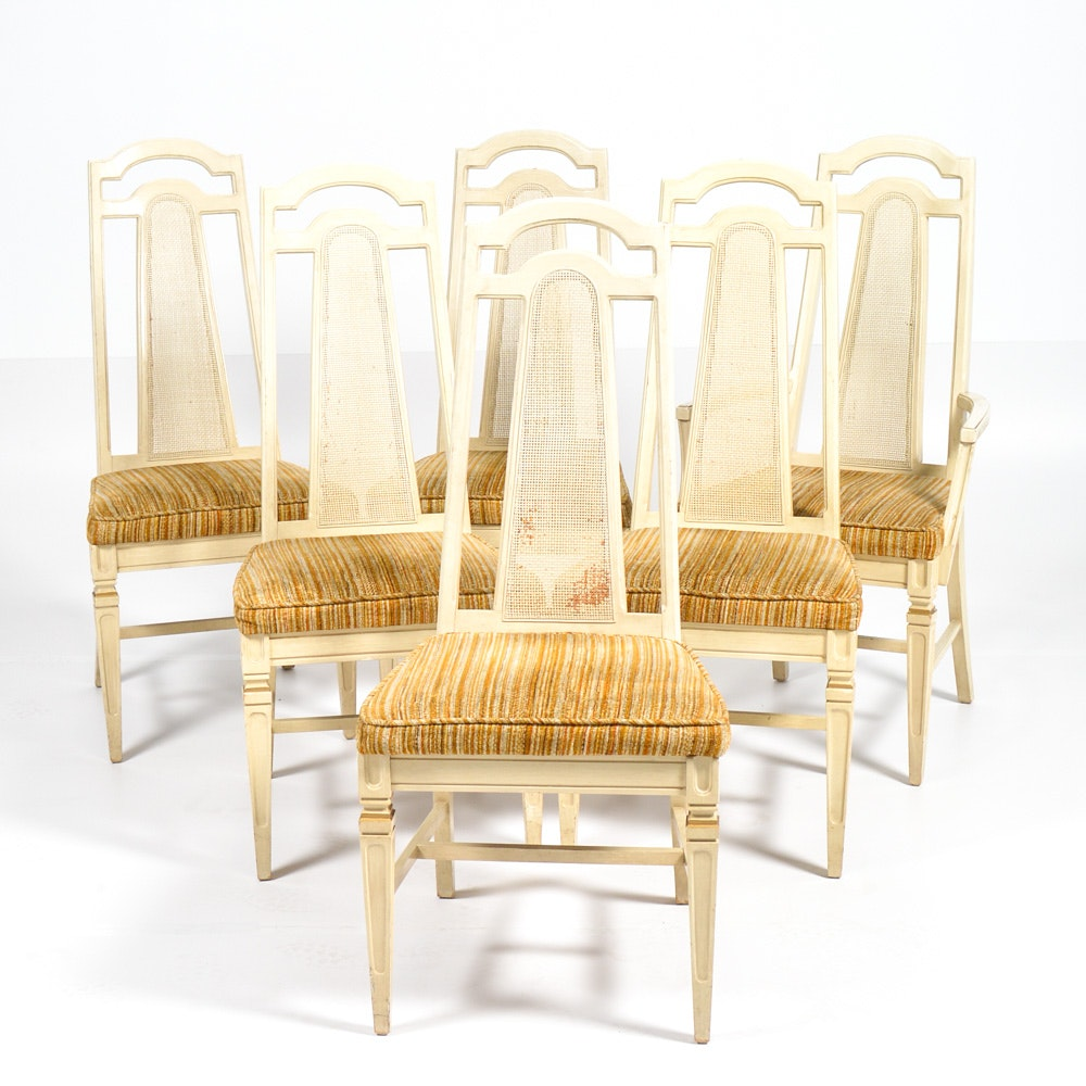 Vintage Caned and Upholstered Dining Chairs