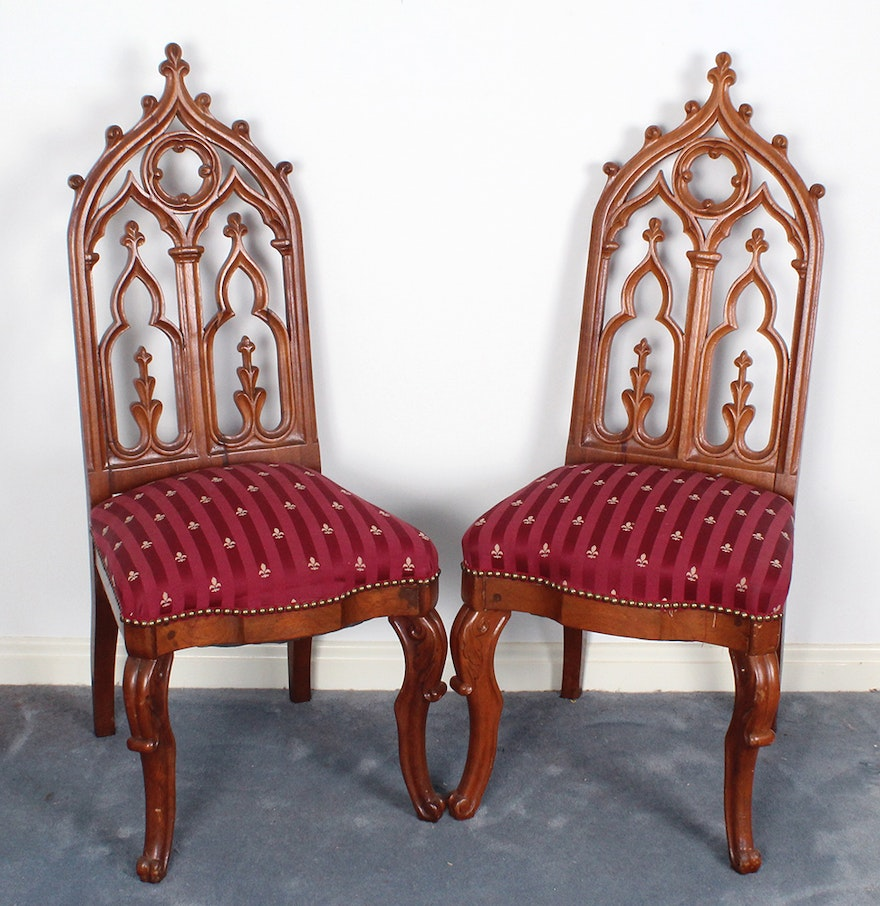 Gothic Revival Upholstered Dining Room Chairs : EBTH