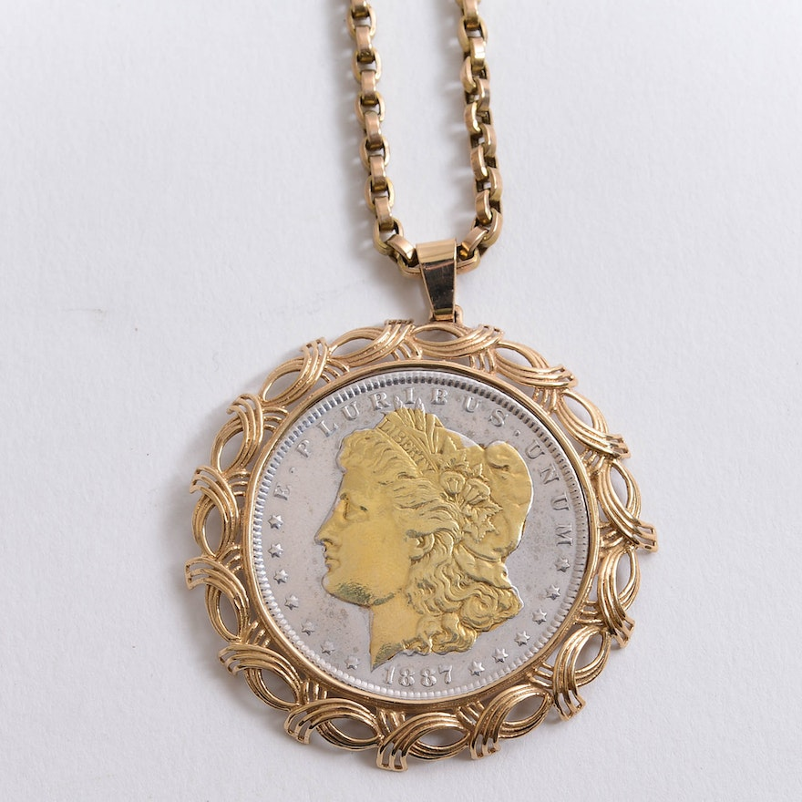 1887 authentic morgan silver dollar 24k gold plated coin 1887 authentic morgan silver dollar 24k gold plated coin necklace mozeypictures Choice Image