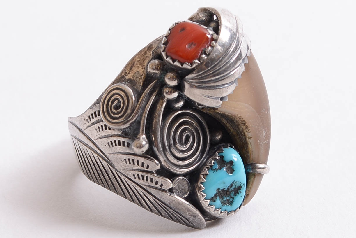 Vintage Navajo 800 Silver Bear Claw with Coral and Turquoise Ring