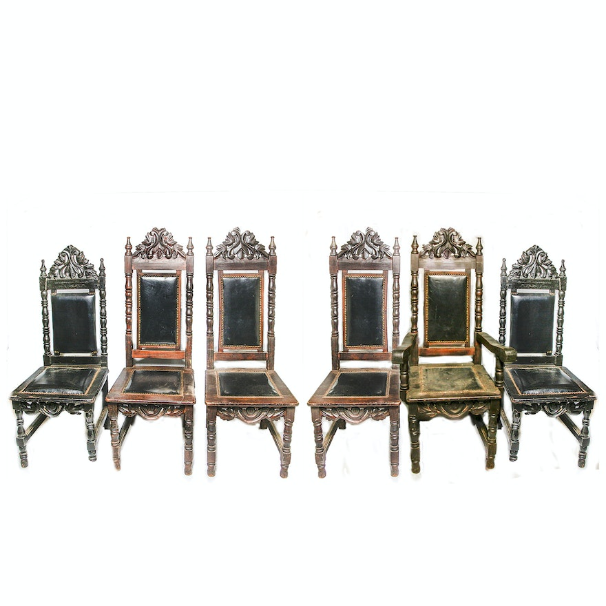 Vintage baroque style dining chairs ebth for Baroque style dining chairs
