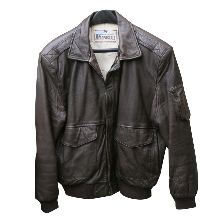 aa90b5de1 Aeropostale Men's Leather Bomber Jacket