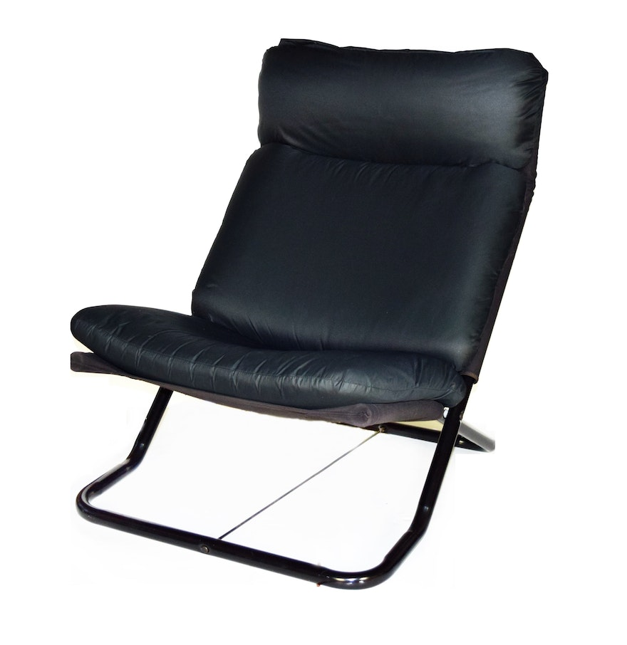 Contemporary Black Metal Frame Folding Chair With Cushions EBTH