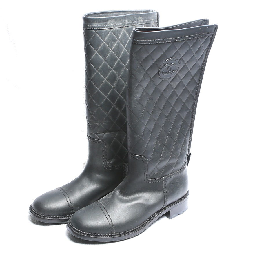 Chanel Quilted Leather Boots Ebth