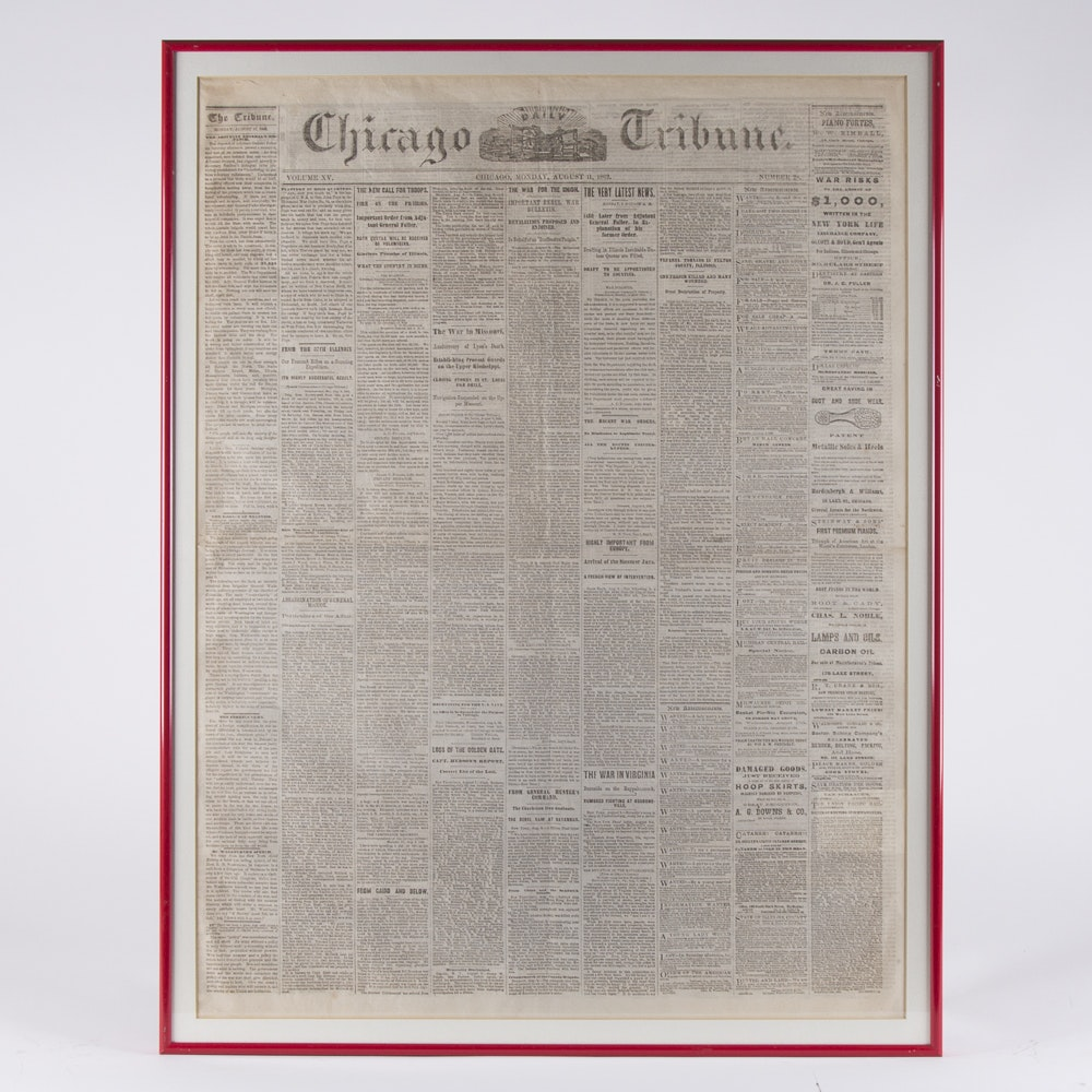 Civil War Era Framed Pages From The Chicago Tribune 1862