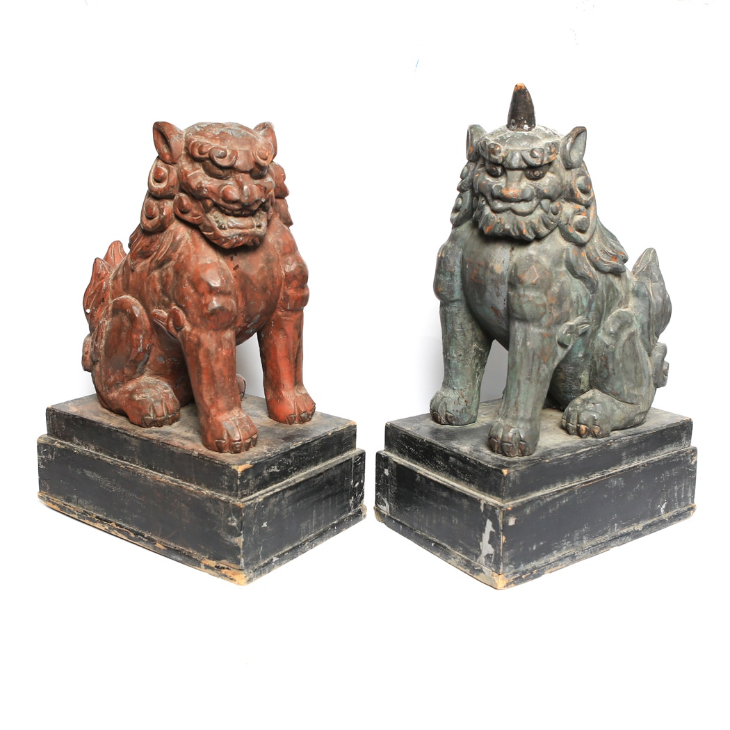 Pair of Large Guardian Lions