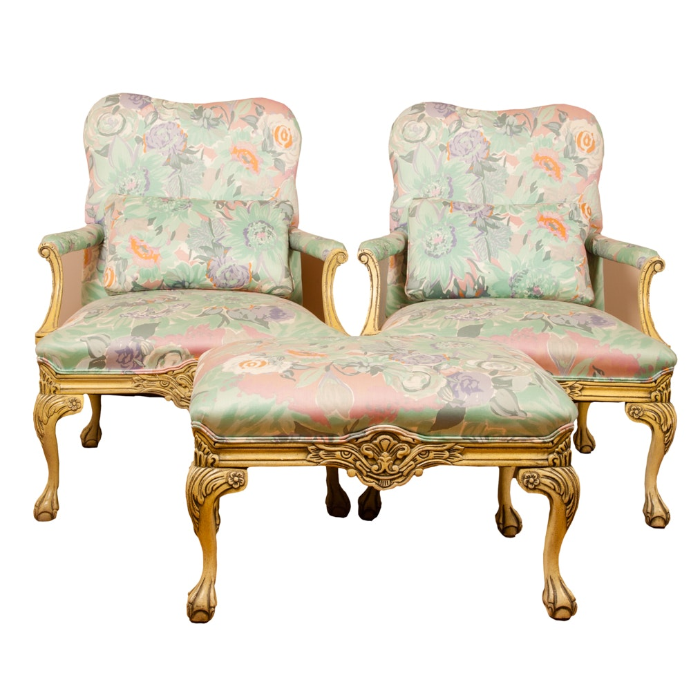 French Provincial Style Armchairs and Ottoman