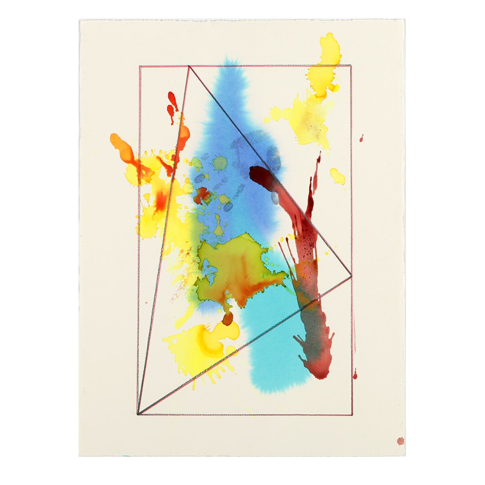 "Ricardo Morin Watercolor and Wax Pencil on Paper ""Triangulation 11"""