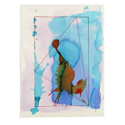 """Ricardo Morin Watercolor and Wax Pencil on Paper """"Triangulation 10"""""""