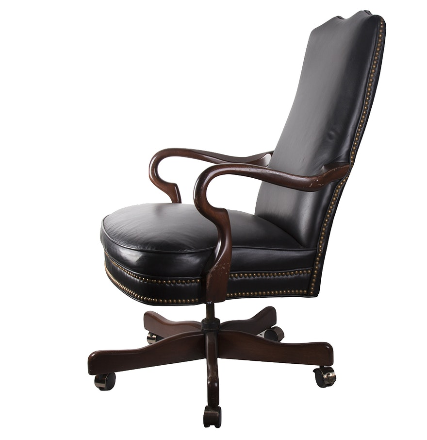 contemporary black leather executive office chair ebth