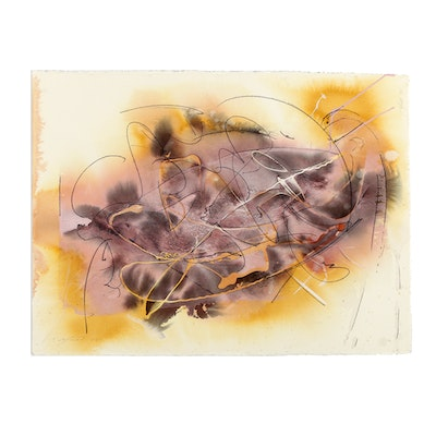 """Ricardo Morin Watercolor and Ink Painting on Paper from """"Vortex Series"""""""