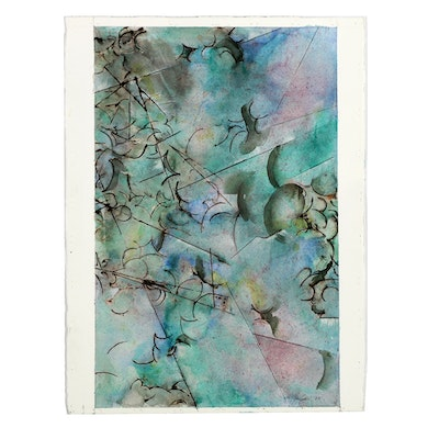 """Ricardo Morin Abstract Ink and Watercolor Painting on Paper from """"Sonata Series"""""""