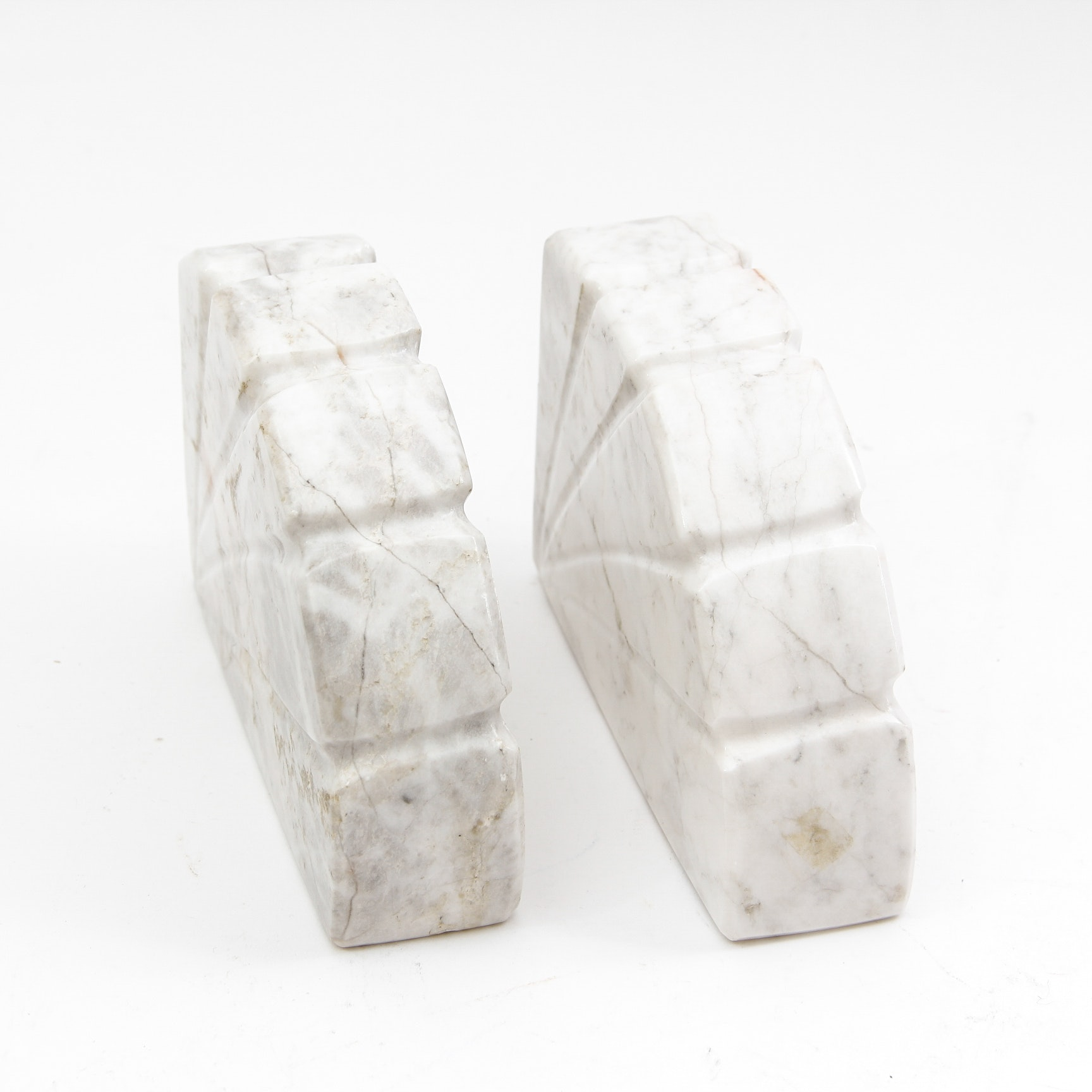 Set of Art Deco Carved Carrera Marble Bookends