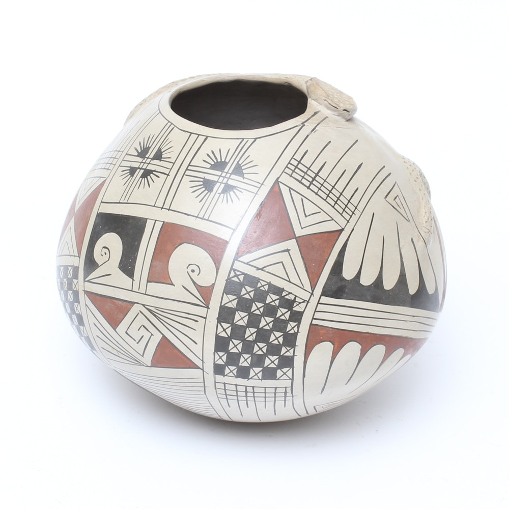 Handcrafted and Hand-Painted Acoma-Style Pottery Vessel