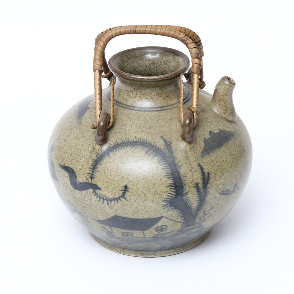 Chinese Blue Willow Style Water Jug