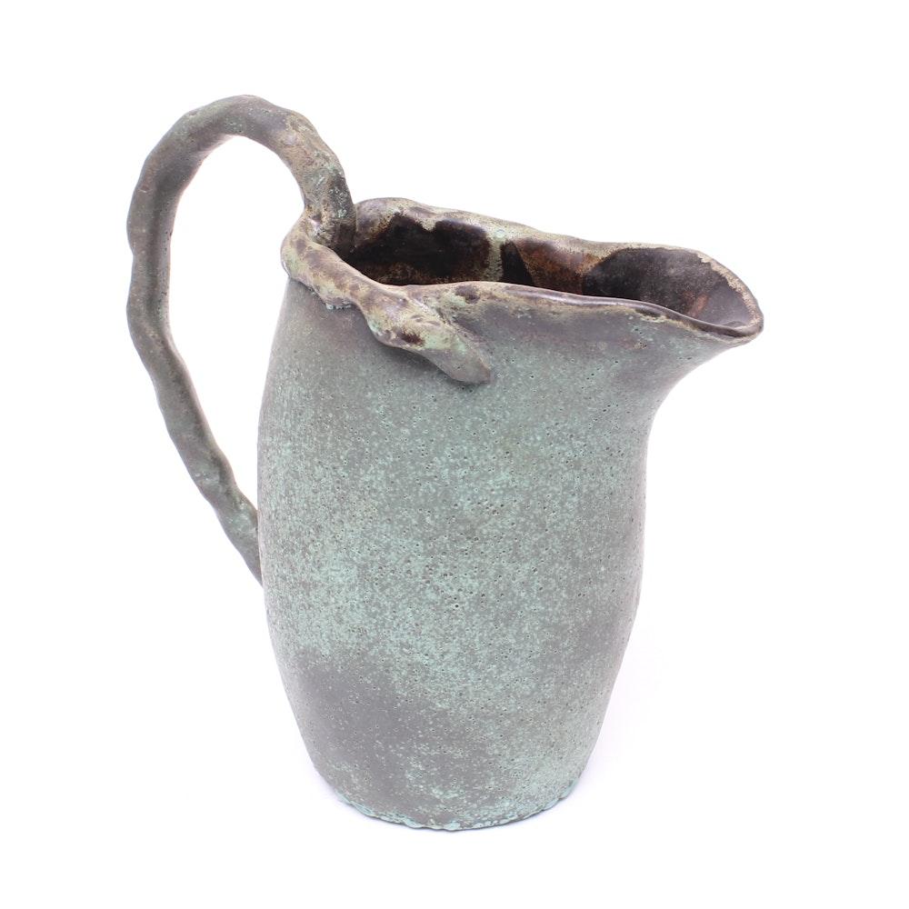 Handcrafted Glazed Stoneware Pottery Pitcher