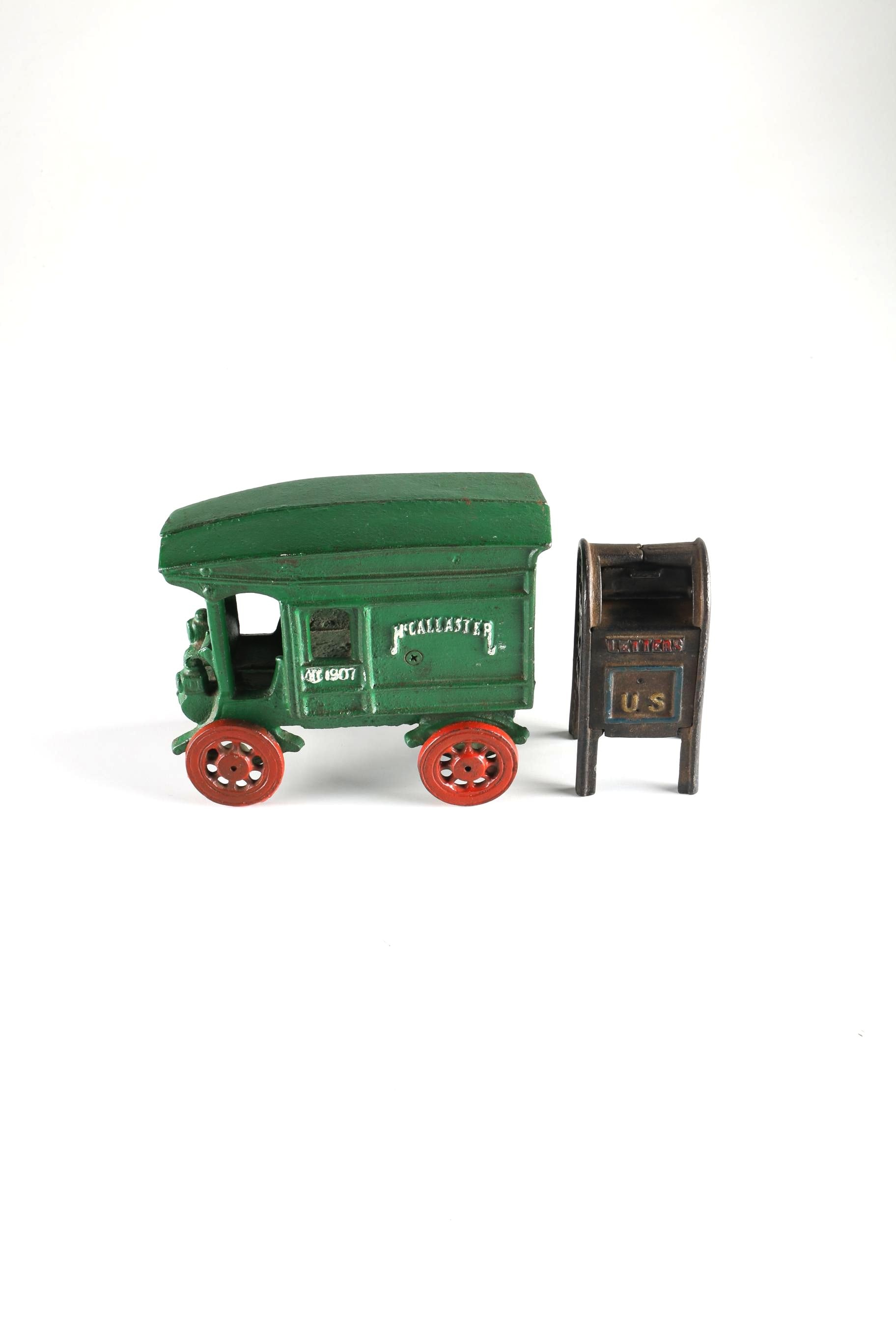 Cast Iron McCallaster Truck And U.S. Mail Box Bank