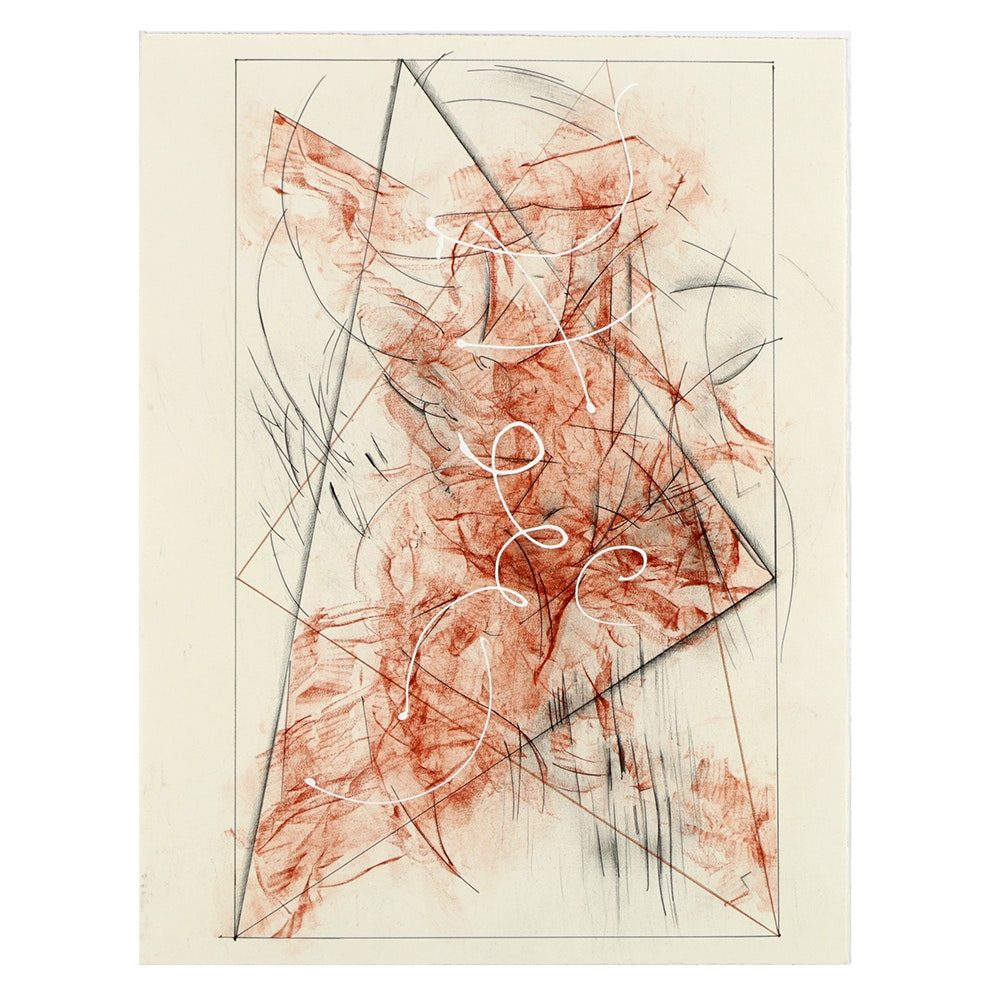 "Ricardo Morin Mixed Media Drawing ""Triangulation IV"""