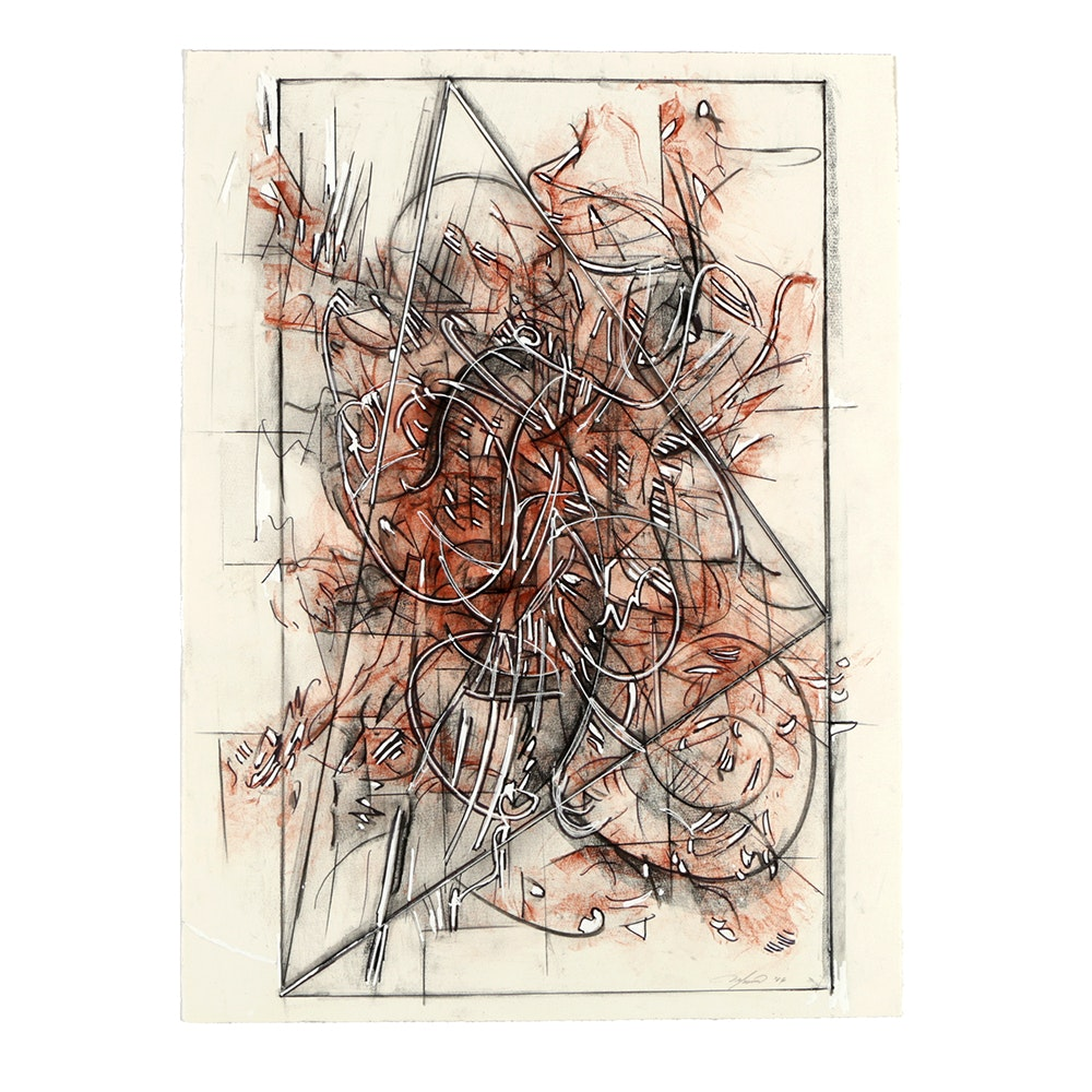 "Ricardo Morin Mixed Media Drawing ""Triangulation V"""